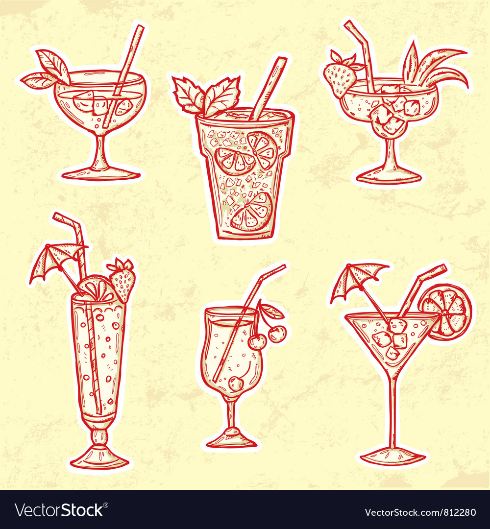 Party drinks set vector | Price: 1 Credit (USD $1)