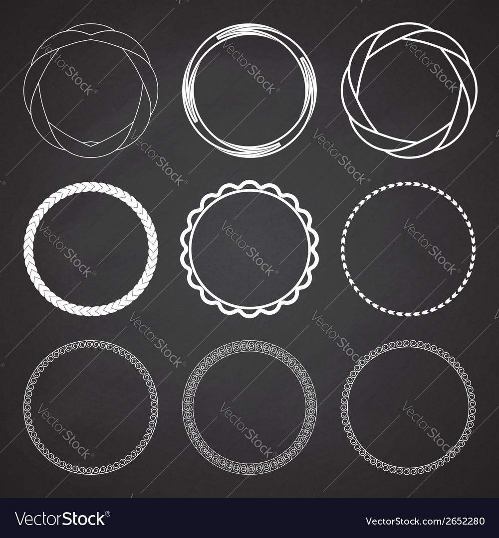 Set of 9 circle summer frames borders vector | Price: 1 Credit (USD $1)