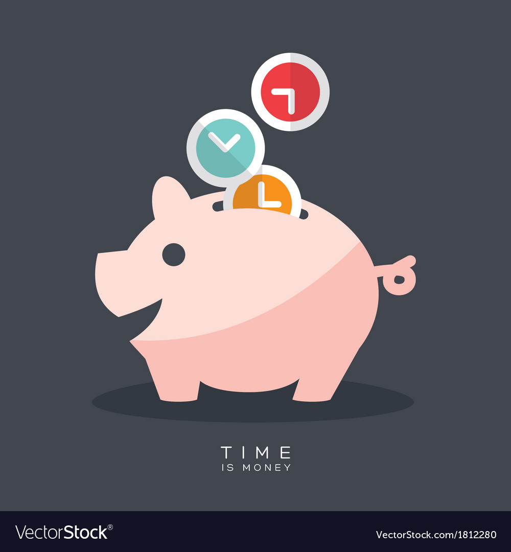 Time is money piggy bank vector | Price: 1 Credit (USD $1)