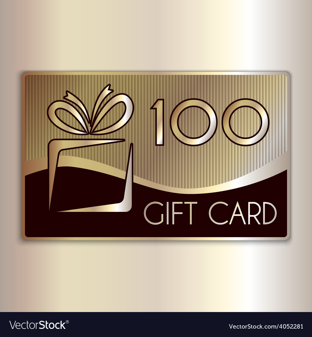 Abstract gift card for one hundred in gold vector | Price: 1 Credit (USD $1)