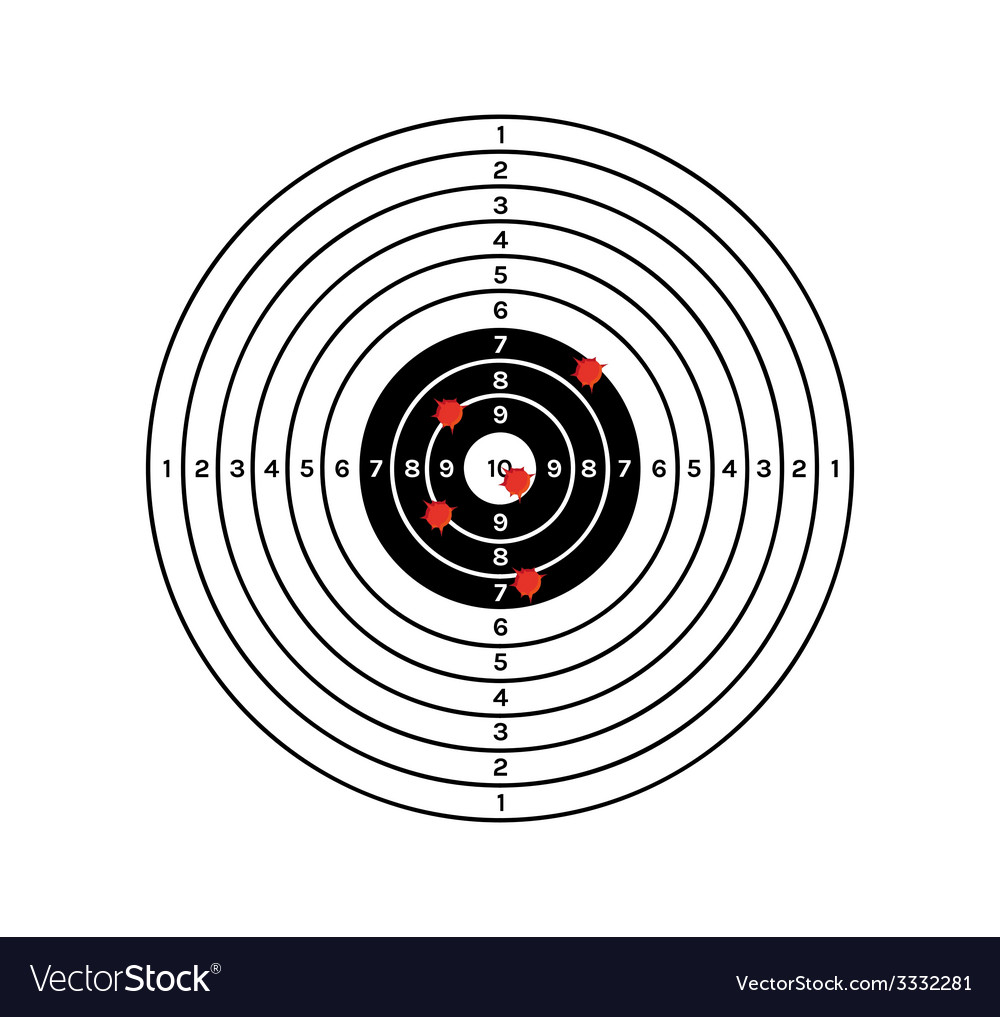 Black and white target with red holes vector | Price: 1 Credit (USD $1)