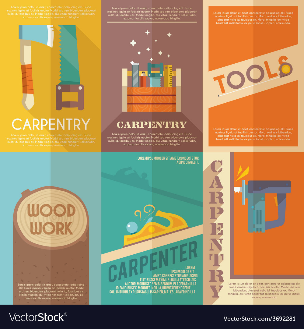 Carpentry poster set vector | Price: 1 Credit (USD $1)