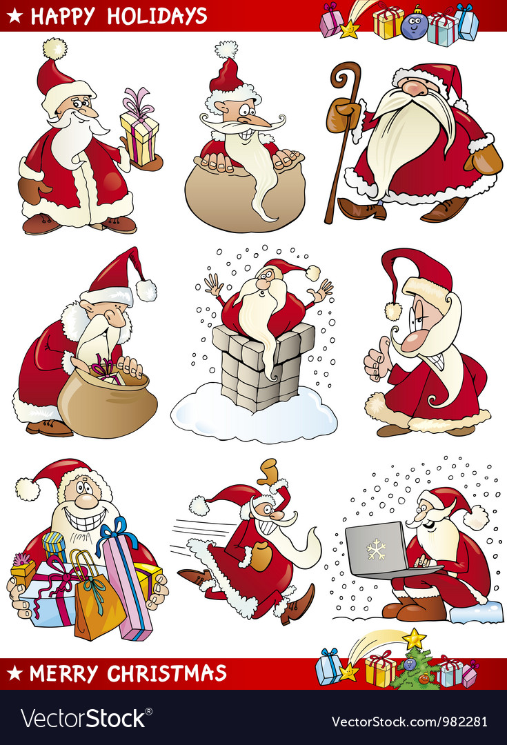 Cartoon set of christmas themes vector | Price: 3 Credit (USD $3)