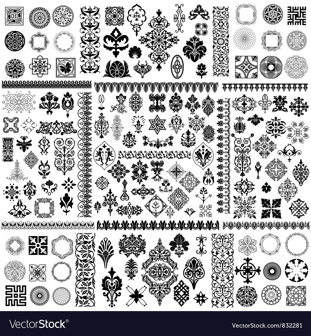 Floral filigree elements set vector
