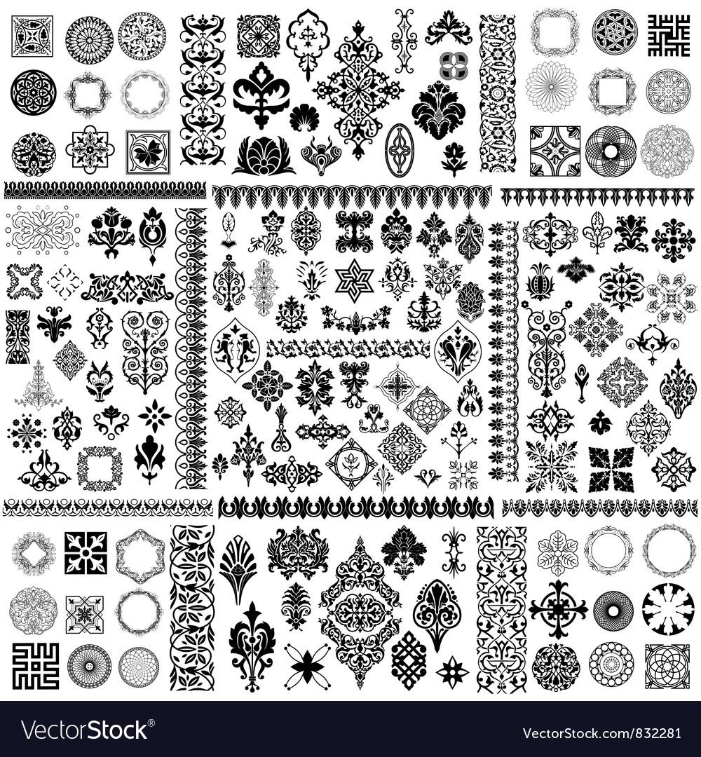 Floral filigree elements set vector | Price: 1 Credit (USD $1)