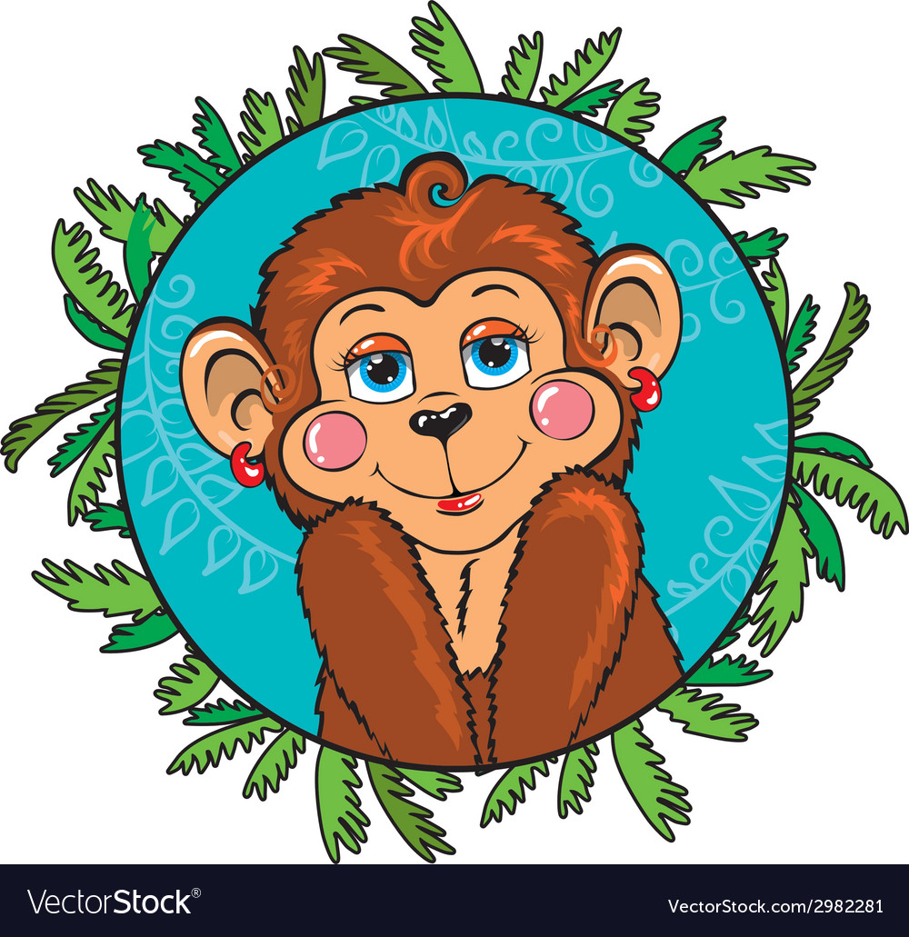 Funny monkey girl shy as part of the leaf vector | Price: 1 Credit (USD $1)