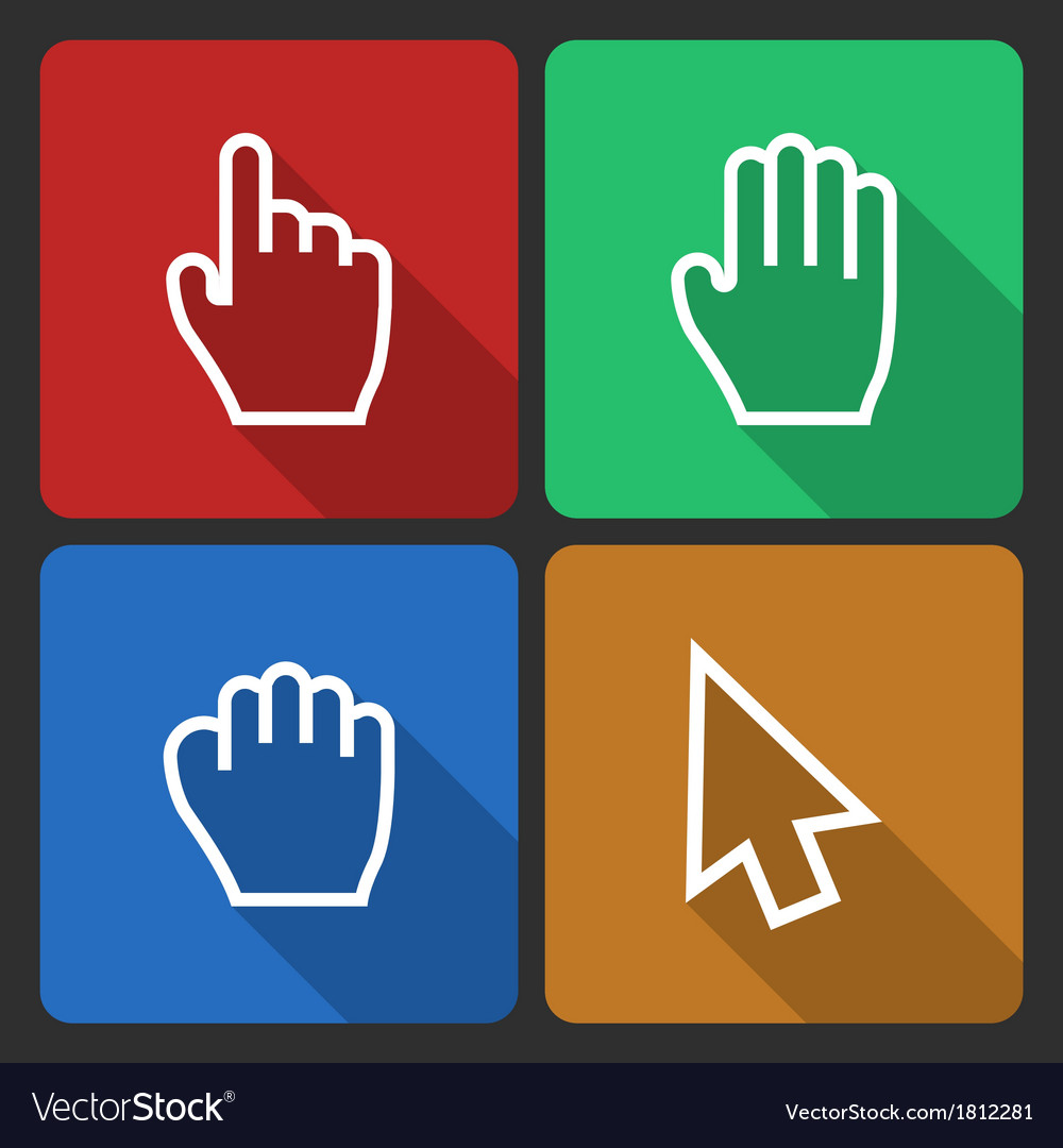 Hand cursors icons with long shadow vector | Price: 1 Credit (USD $1)