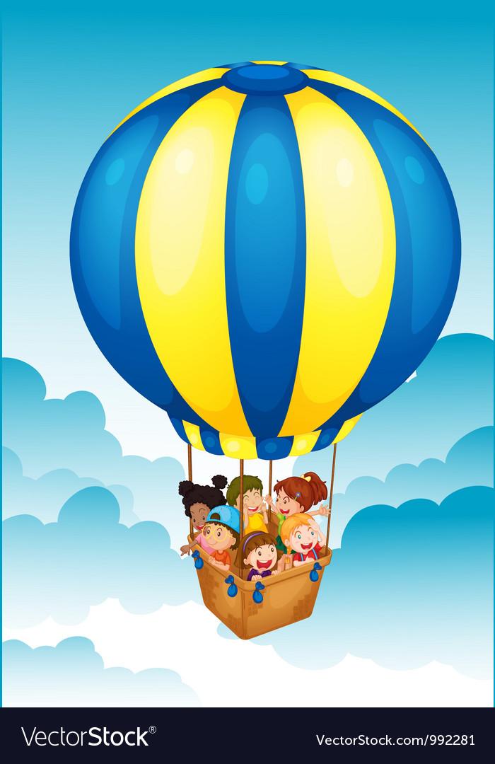 Hot air balloon trip vector