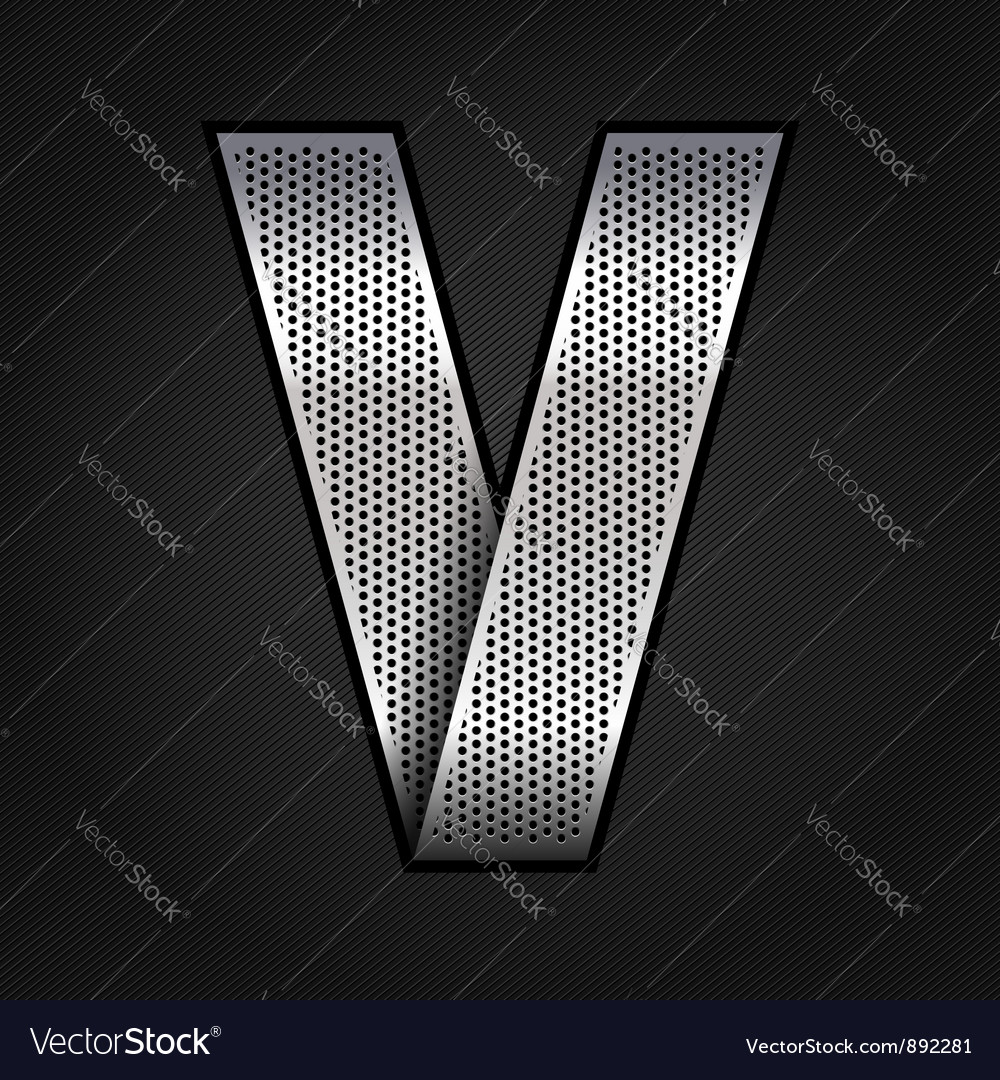 Letter metal chrome ribbon  v vector