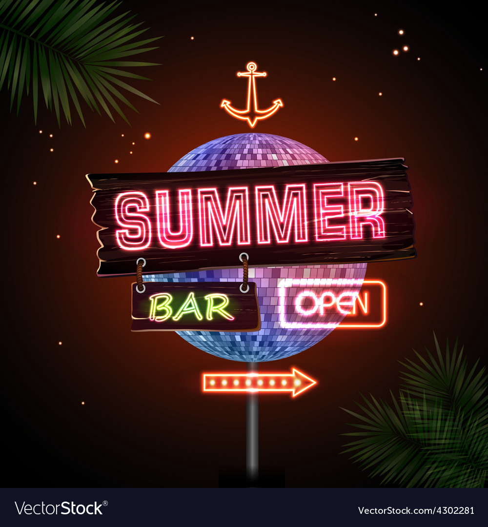 Neon sign summer beach vector | Price: 1 Credit (USD $1)
