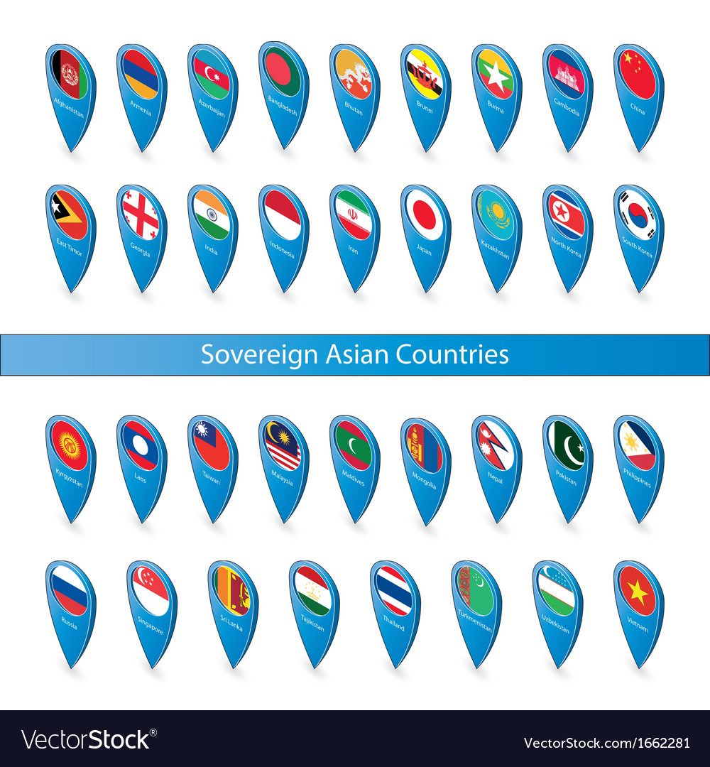 Pin flags of the sovereign asian countries vector | Price: 1 Credit (USD $1)
