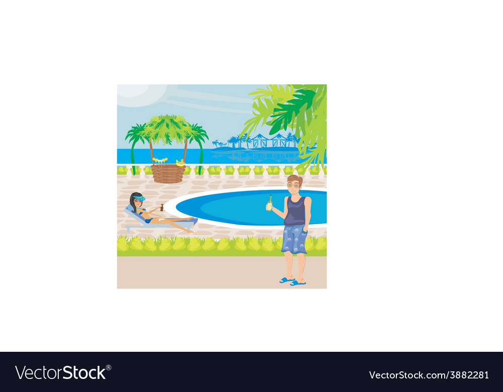 Relaxing by the pool vector | Price: 1 Credit (USD $1)
