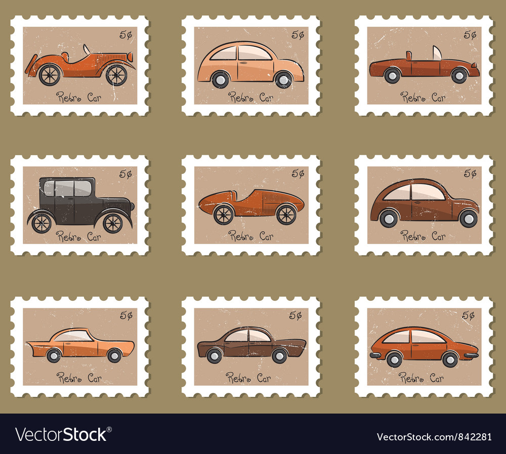 Stamp retro cars collection vector | Price: 3 Credit (USD $3)
