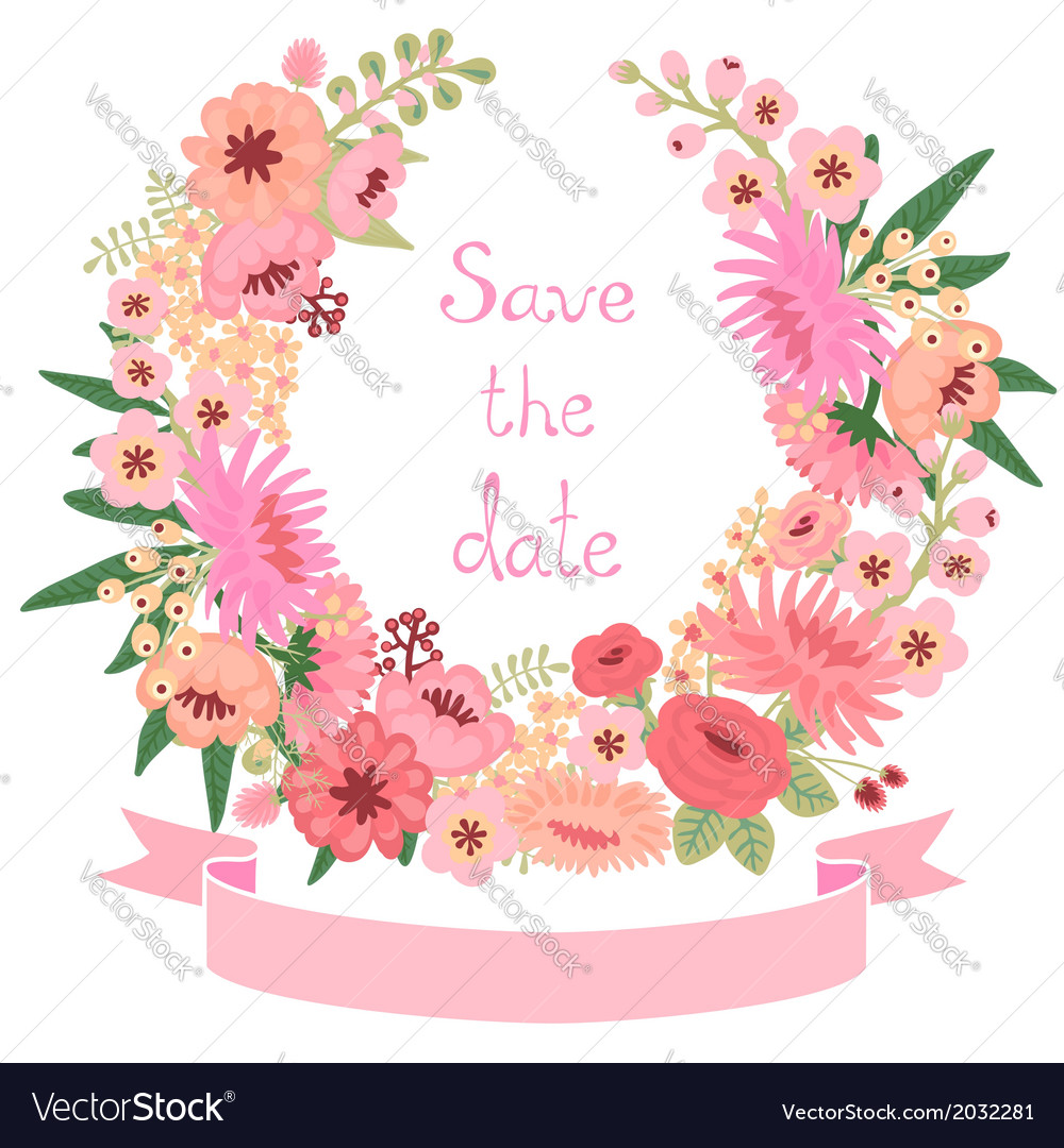 Vintage card with floral wreath save the date vector | Price: 1 Credit (USD $1)