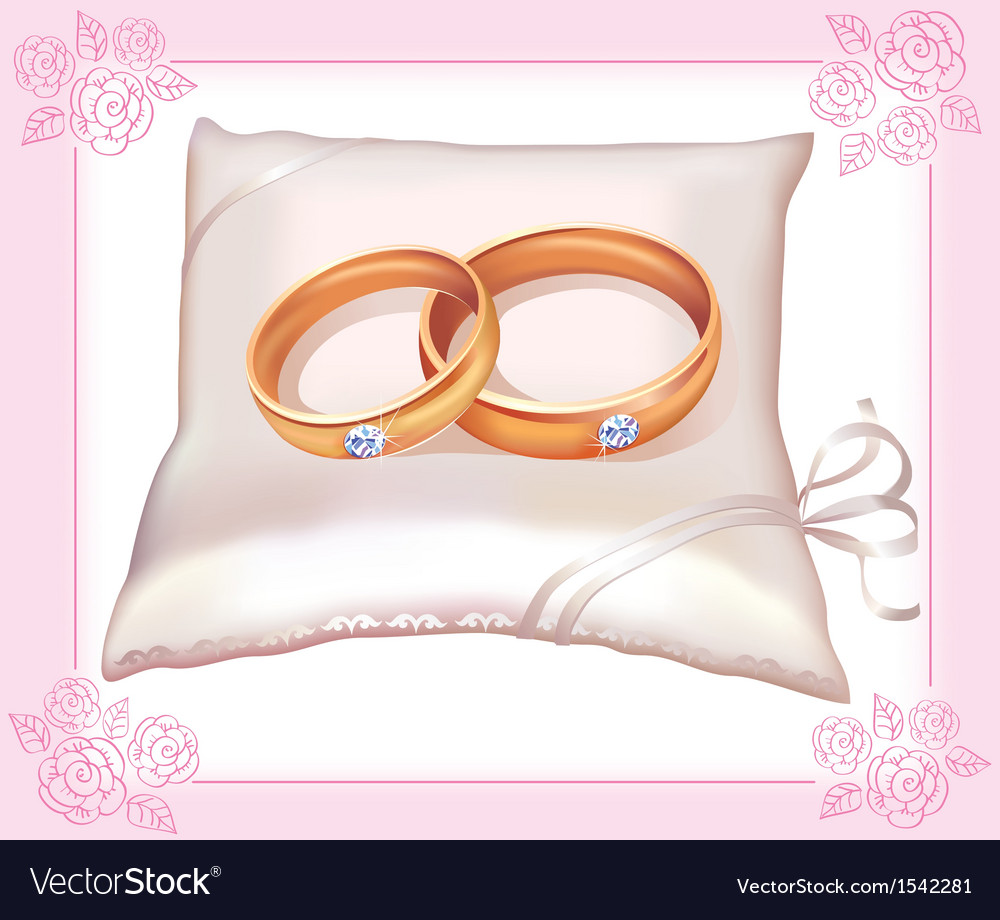 Wedding gold rings on satin pillow vector | Price: 1 Credit (USD $1)