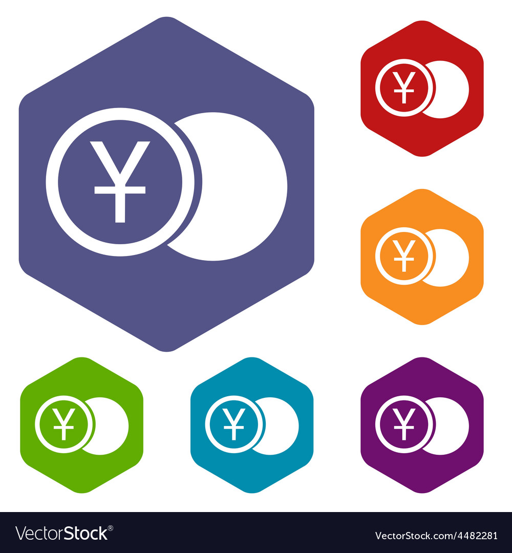 Yen coin rhombus icons vector | Price: 1 Credit (USD $1)