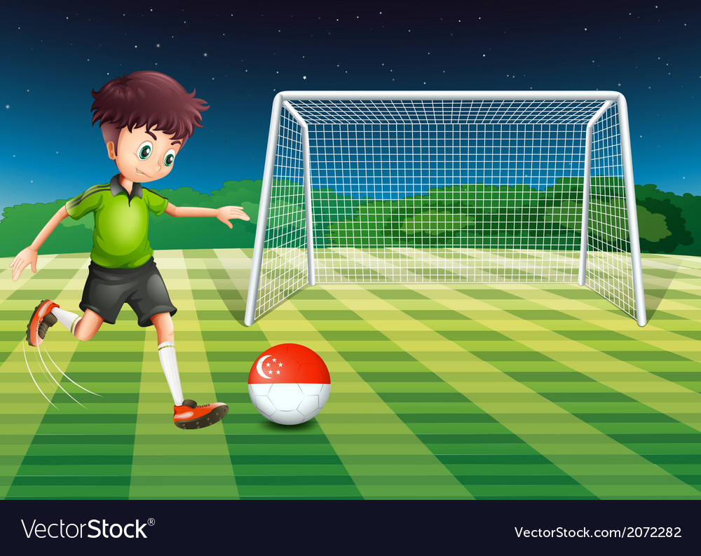 A boy at the field using the ball with the vector | Price: 1 Credit (USD $1)