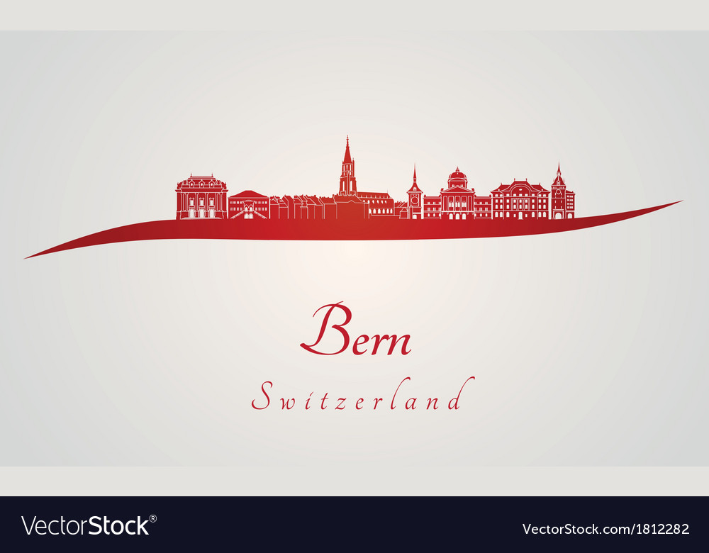 Bern skyline in red vector | Price: 1 Credit (USD $1)