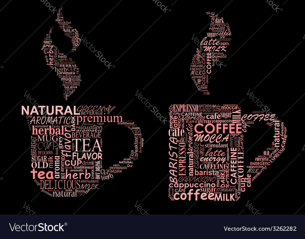 Cups of coffee and tea formed from text clouds vector | Price: 1 Credit (USD $1)