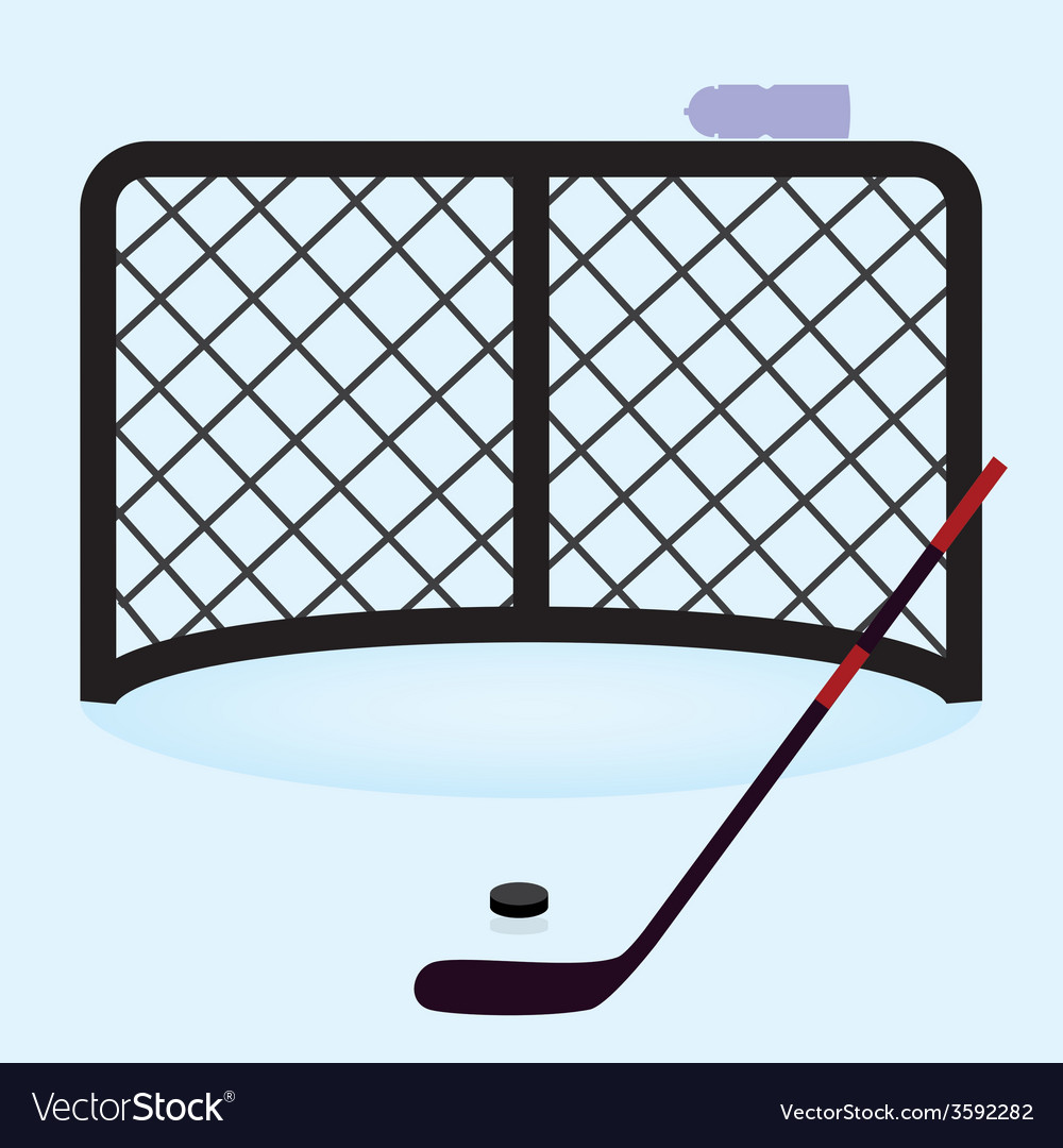 Ice hockey net gate with hockey stick and puck vector | Price: 1 Credit (USD $1)