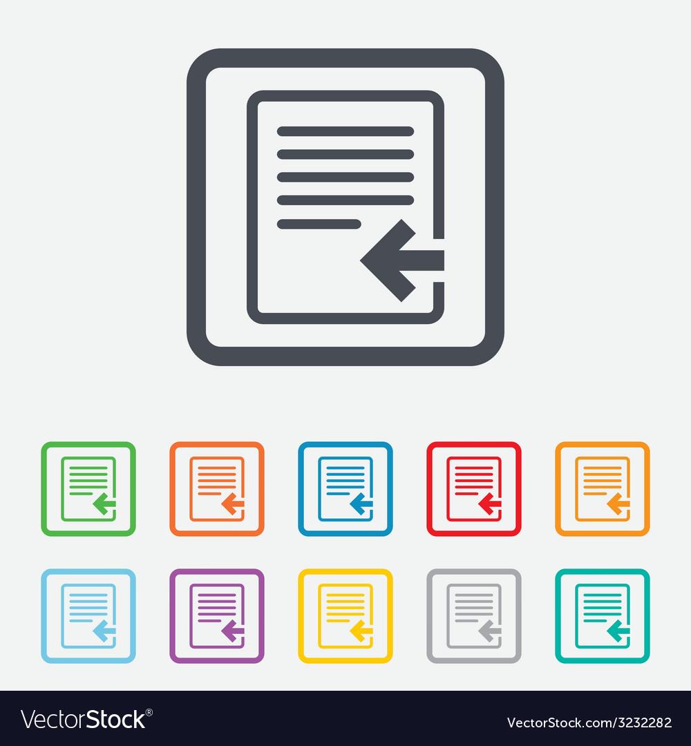 Import file icon file document symbol vector | Price: 1 Credit (USD $1)