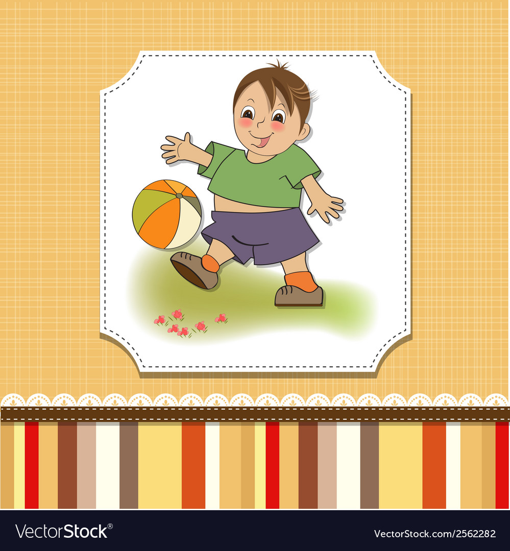 Little boy playing ball vector | Price: 1 Credit (USD $1)