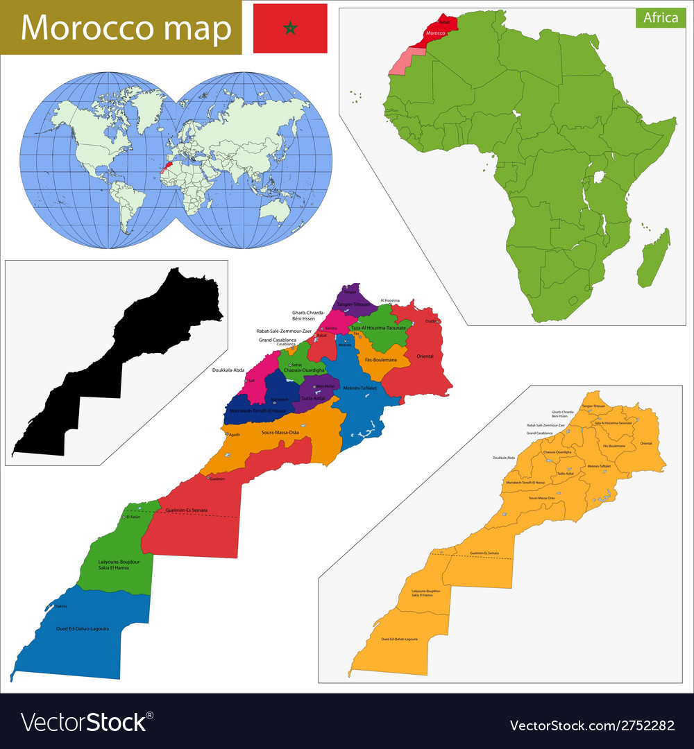 Morocco map vector | Price: 1 Credit (USD $1)