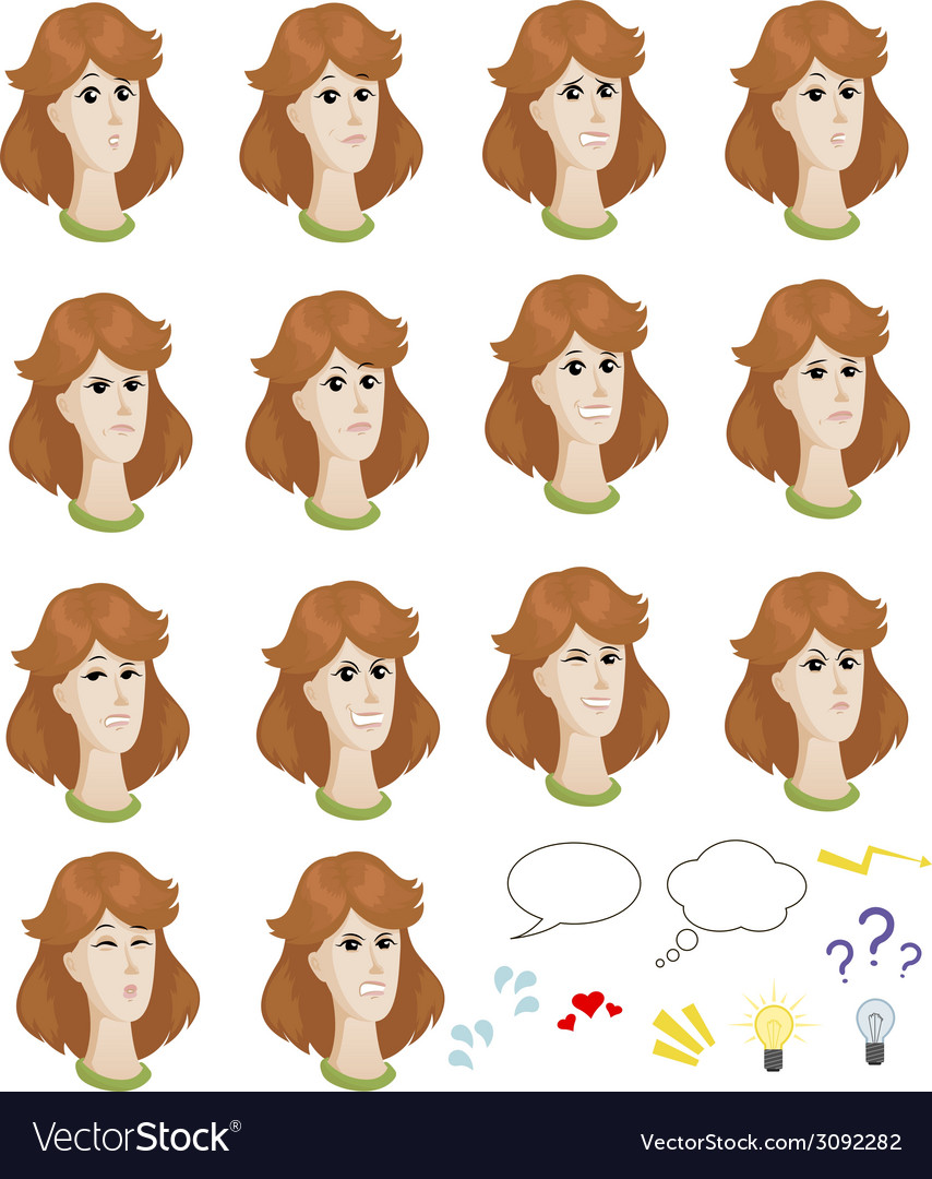 Set of cartoon caucasian female faces with vector | Price: 1 Credit (USD $1)