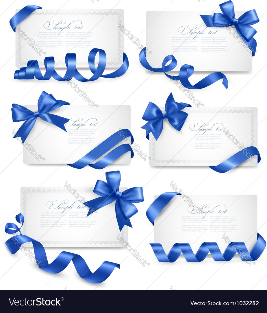 Set of gift card notes with blue bows with ribbons vector | Price: 3 Credit (USD $3)