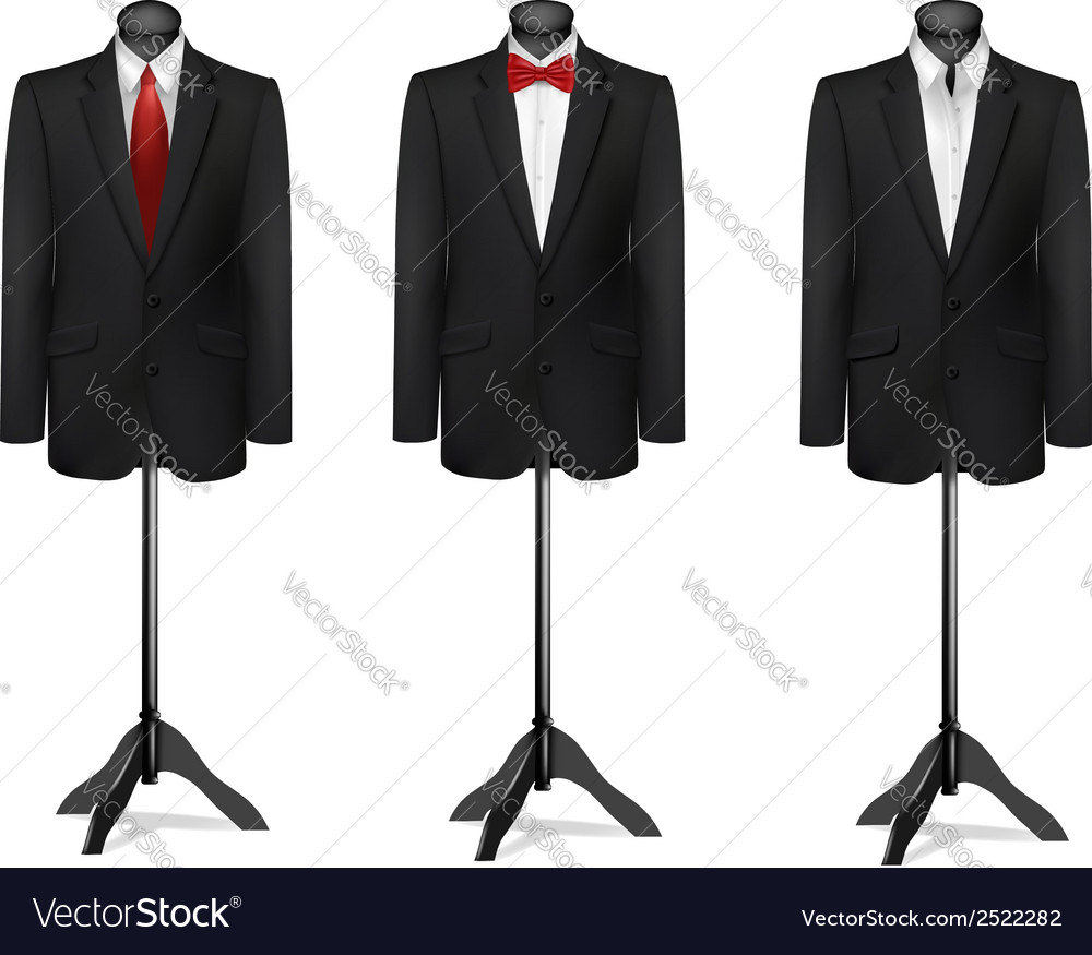 Three different suits on mannequins vector | Price: 1 Credit (USD $1)