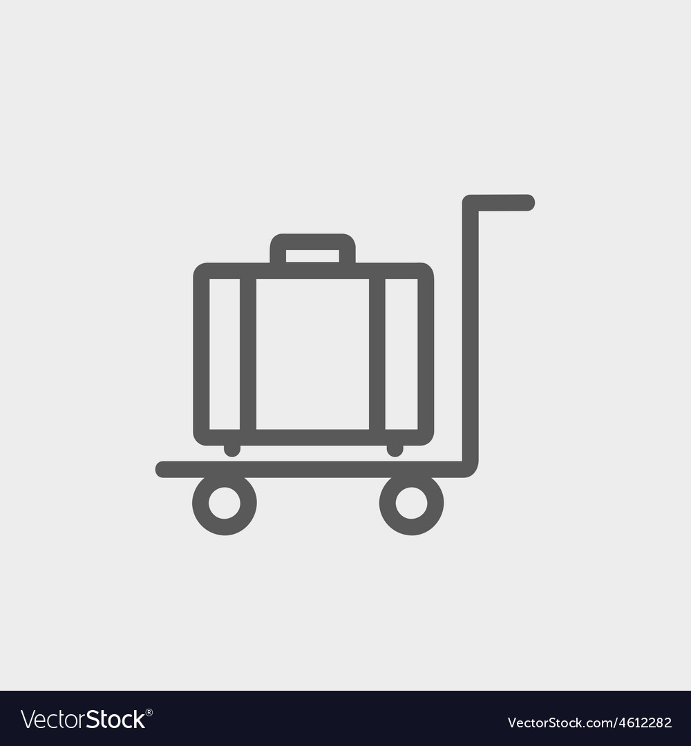 Trolley luggage thin line icon vector | Price: 1 Credit (USD $1)