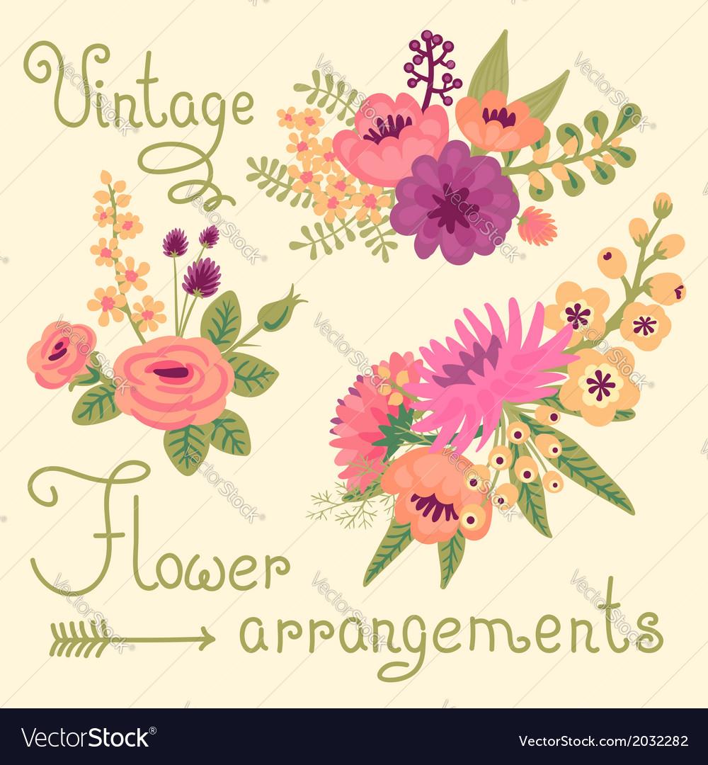 Vintage flowers cute flower for design vector | Price: 1 Credit (USD $1)