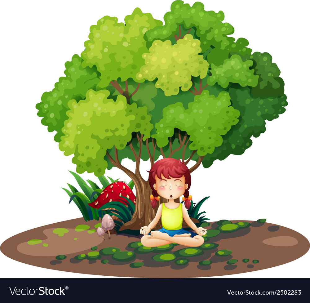 A girl doing yoga under the tree vector | Price: 1 Credit (USD $1)