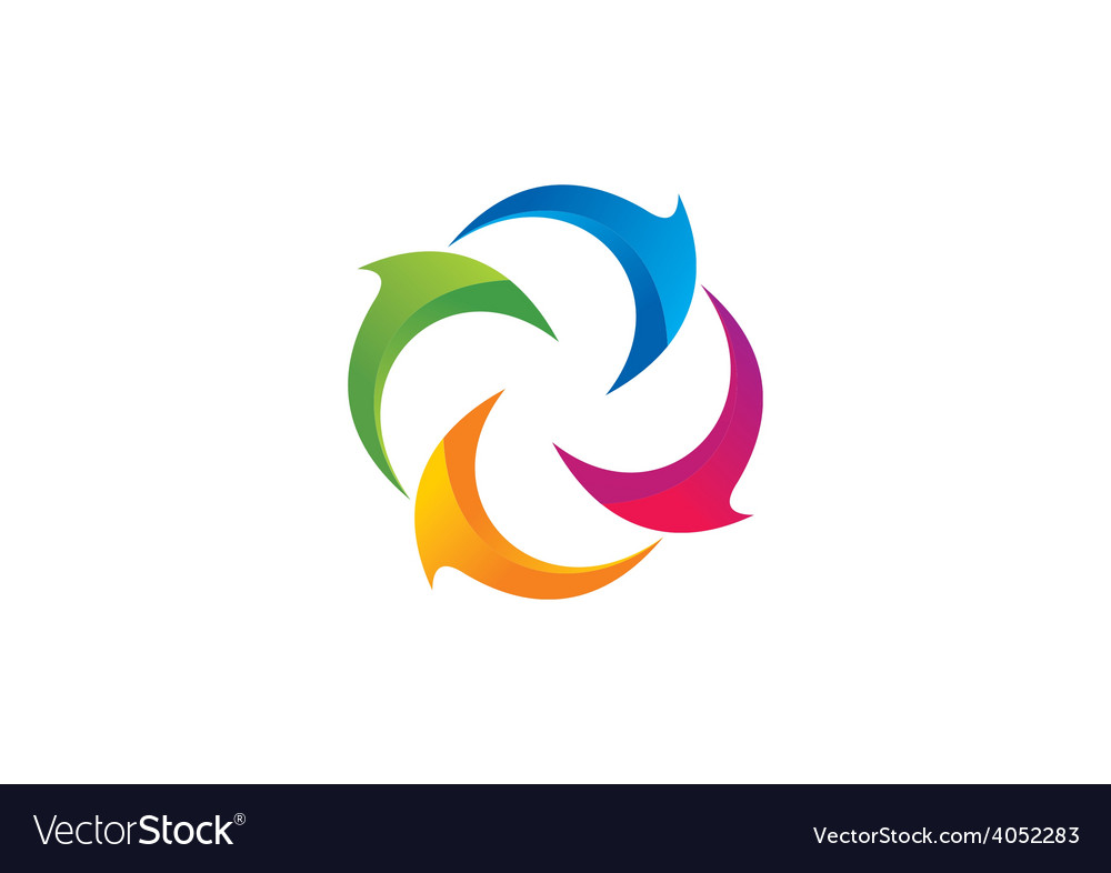 Circle curl 2d abstract logo vector | Price: 1 Credit (USD $1)