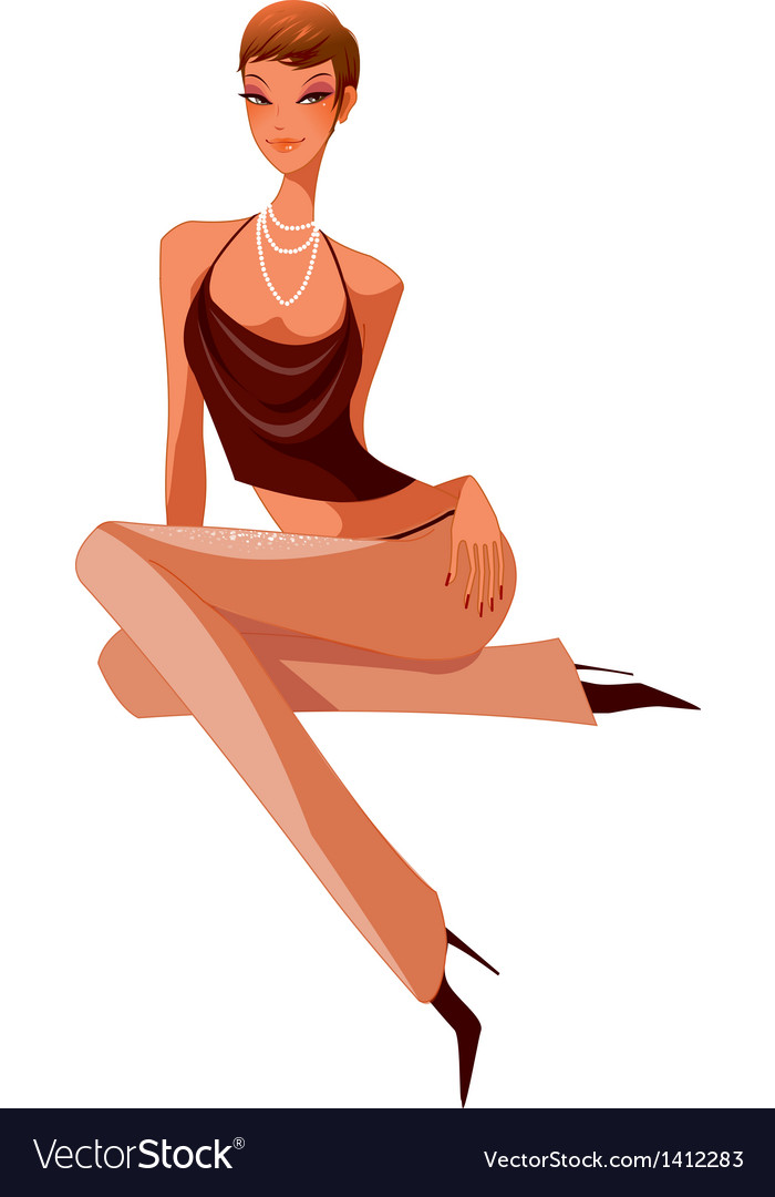 Close-up of woman sitting vector | Price: 3 Credit (USD $3)