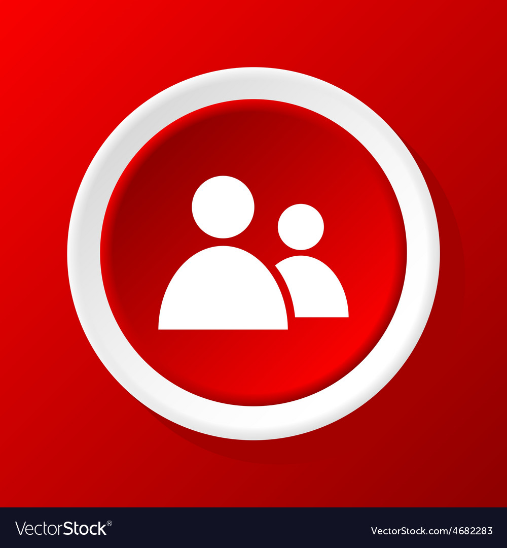 Contacts icon on red vector | Price: 1 Credit (USD $1)