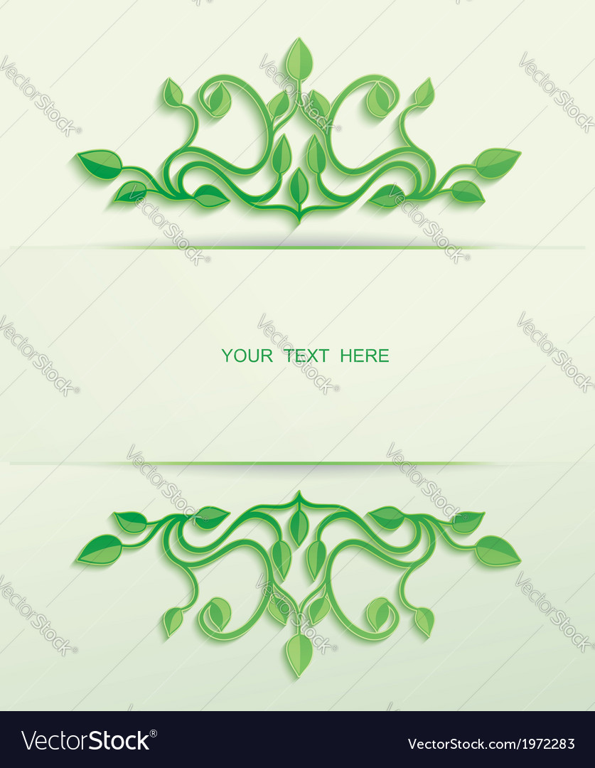 Floral green leaves with place for text vector | Price: 1 Credit (USD $1)