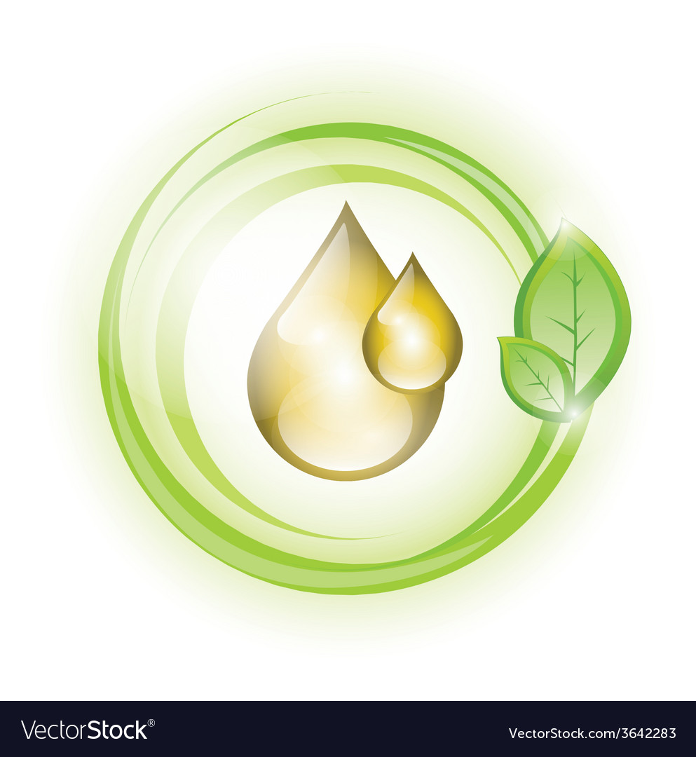 Golden yellow oil droplets in green circles vector | Price: 1 Credit (USD $1)