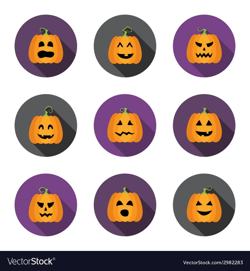 Halloween pumpkins flat circle icons set vector | Price: 1 Credit (USD $1)