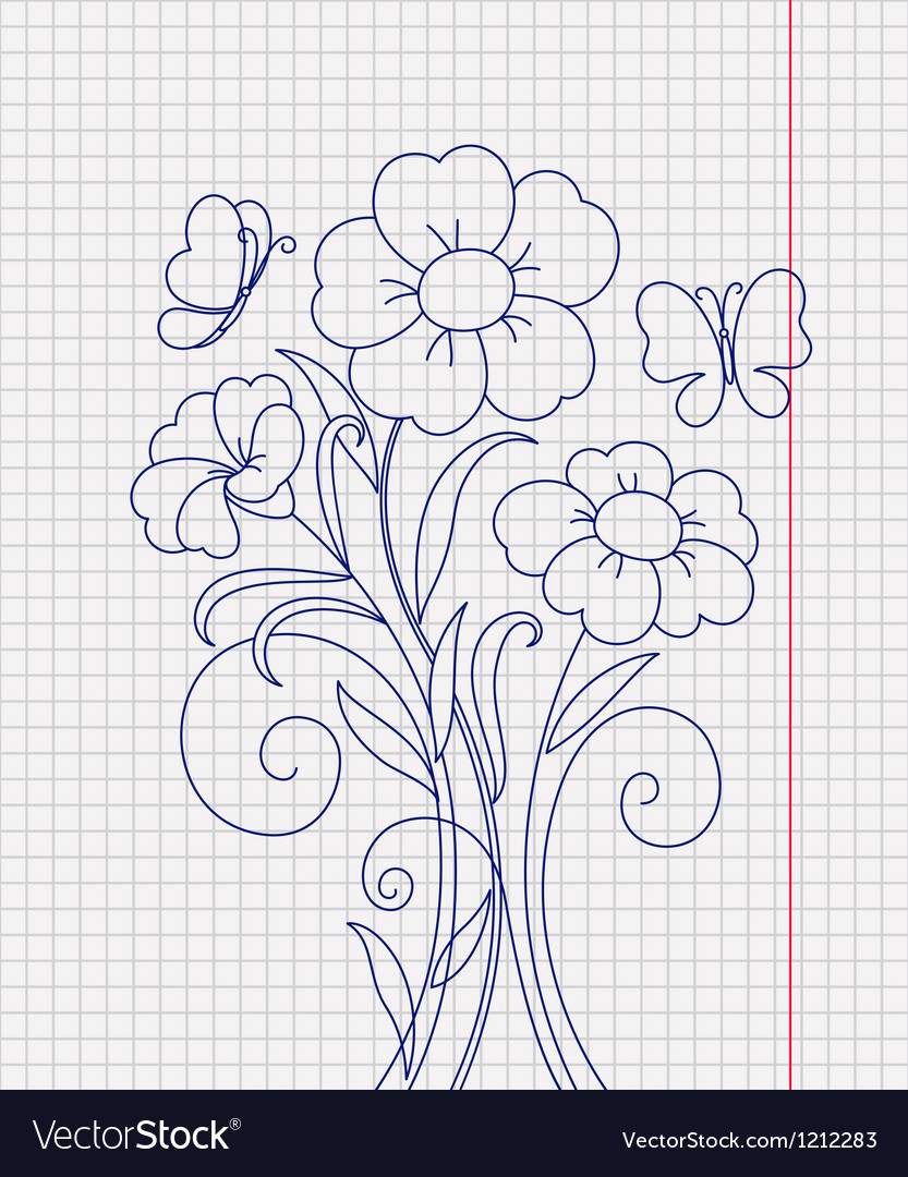 Kidstyle flower sketch on the paper sheet vector