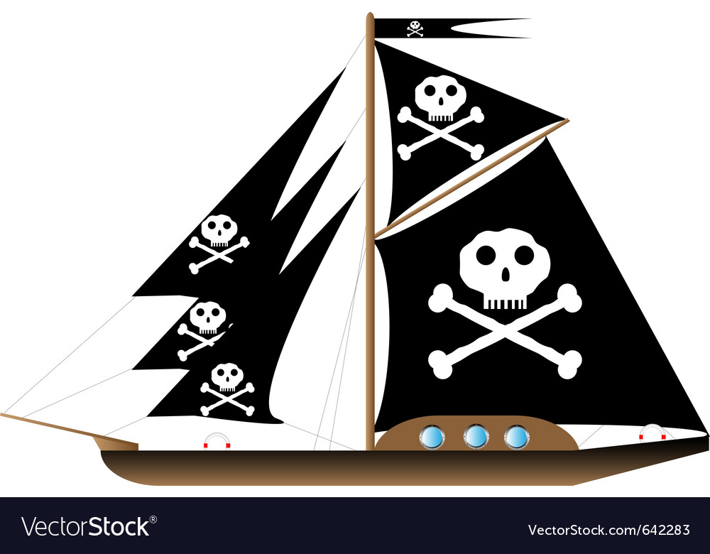 Pirate vessel on white vector | Price: 1 Credit (USD $1)