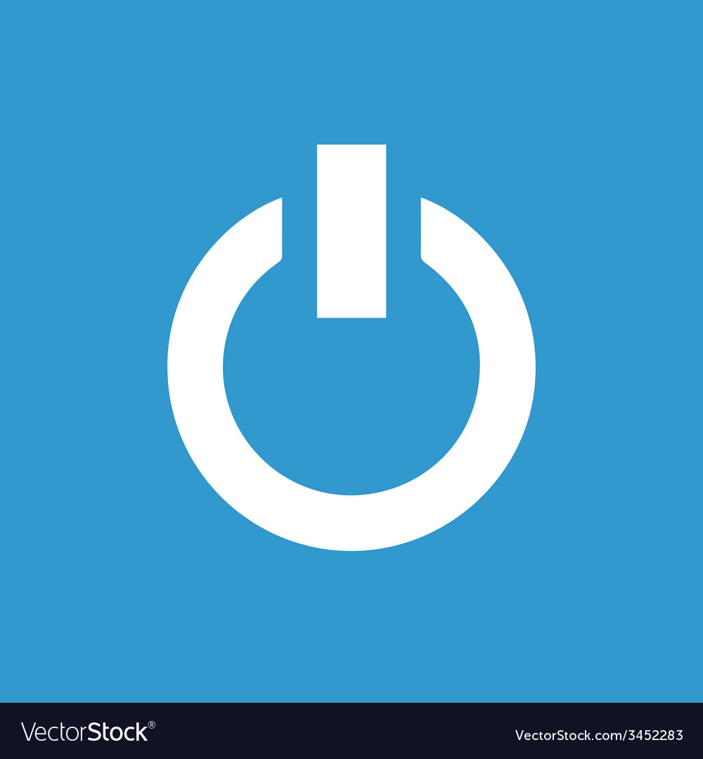 Power on icon white on the blue background vector | Price: 1 Credit (USD $1)