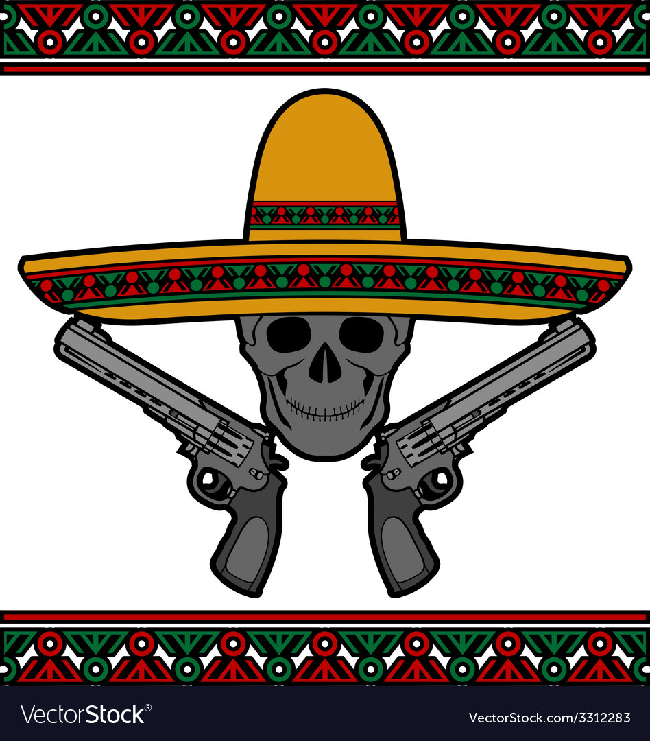 Skull with sombrero and pistols vector | Price: 1 Credit (USD $1)
