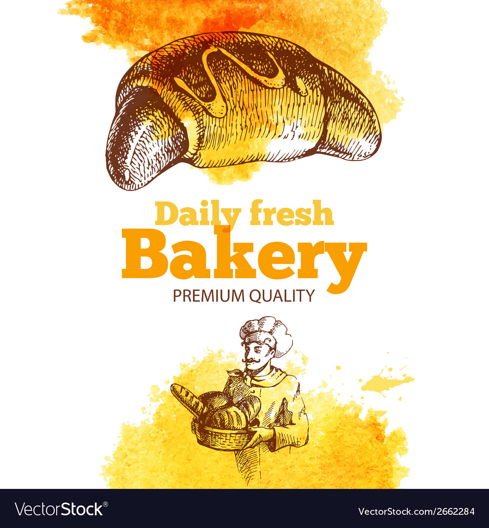 Bakery watercolor and sketch background vector | Price: 1 Credit (USD $1)