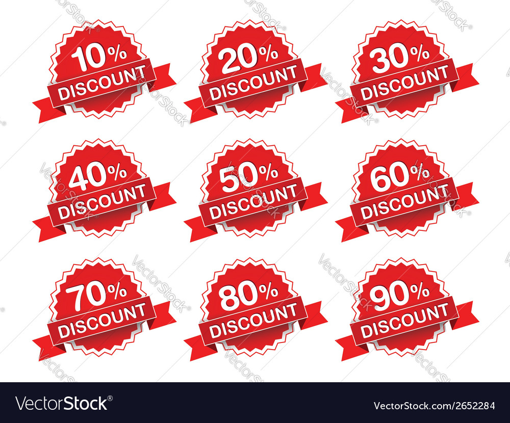 Discount percent sticker price tag vector | Price: 1 Credit (USD $1)