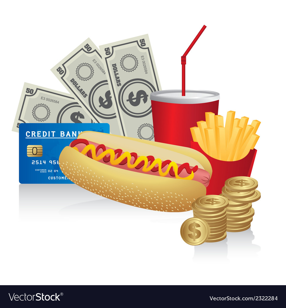 Fast food combo with a hot dog french fries soda c vector | Price: 1 Credit (USD $1)