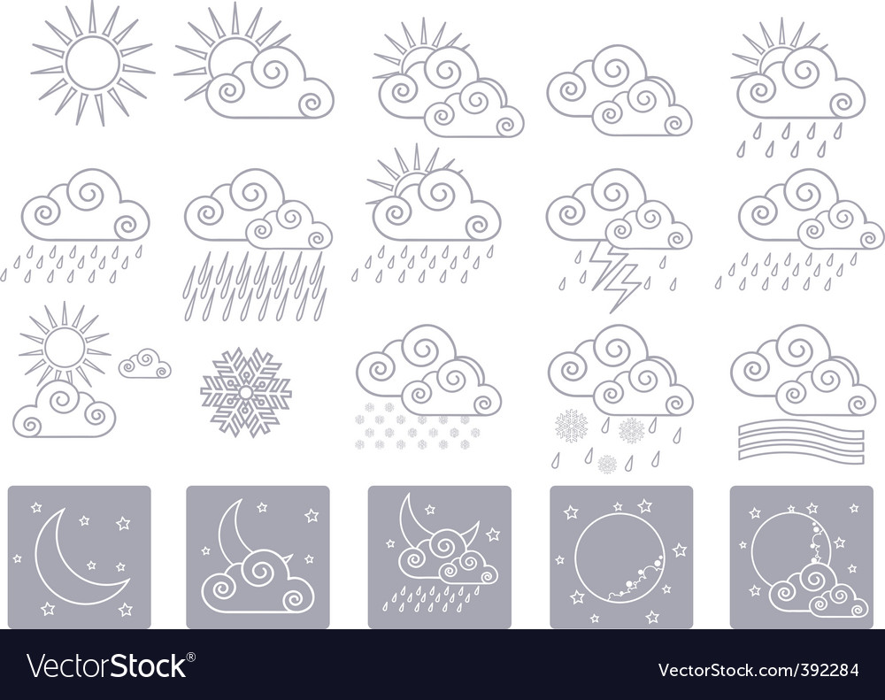 Icons weather vector | Price: 1 Credit (USD $1)