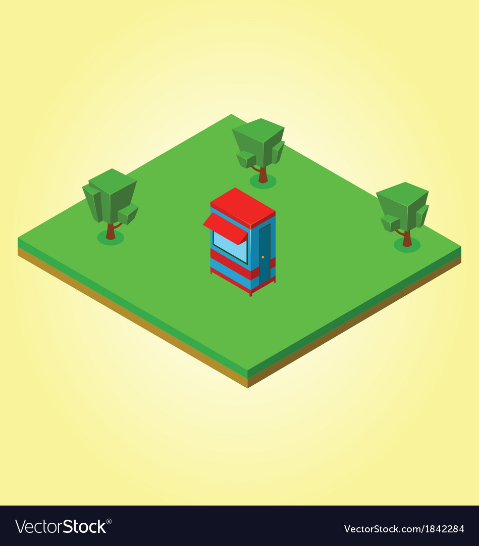 Isometric security cabin vector | Price: 1 Credit (USD $1)