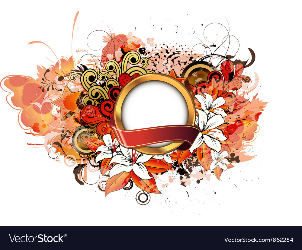 Label with grunge floral vector   Price: 1 Credit (USD $1)