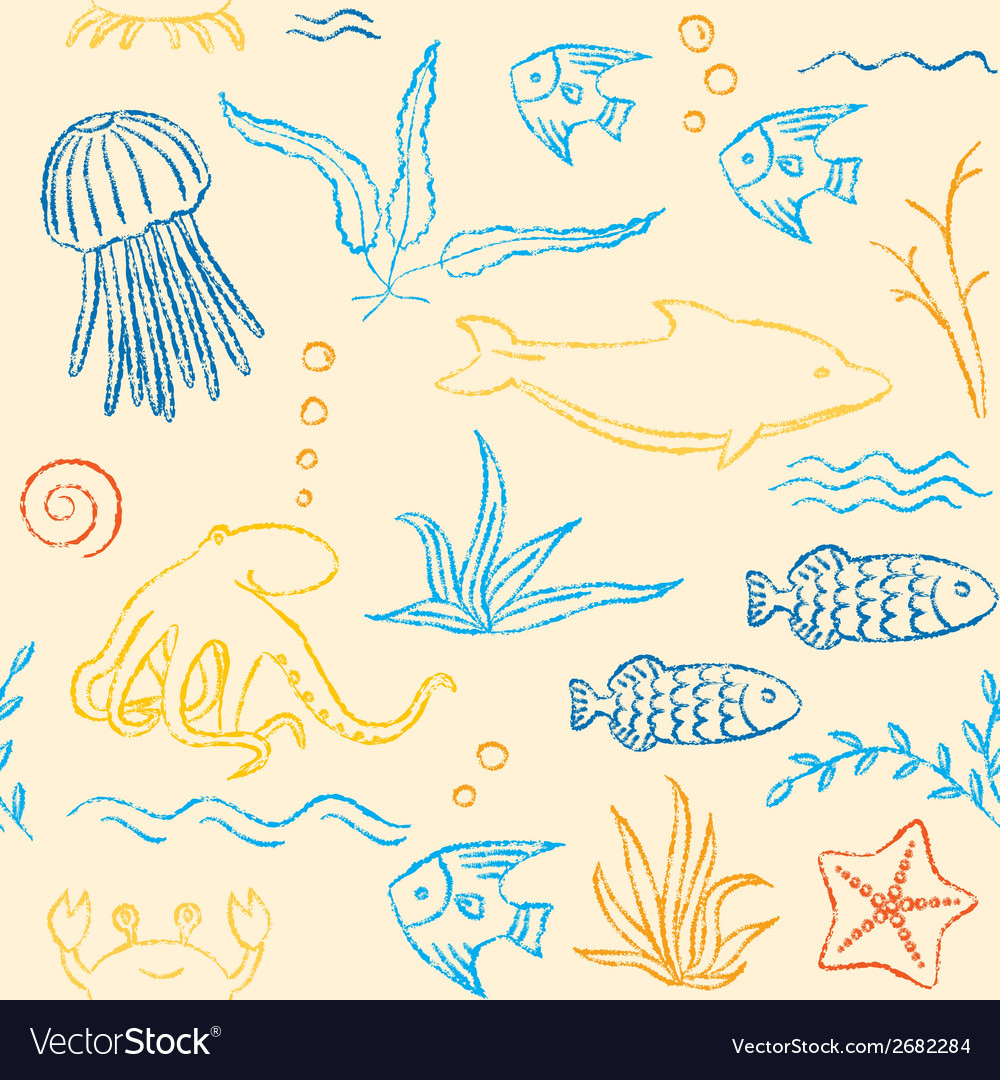 Sealife hand drawn seamless pattern vector | Price: 1 Credit (USD $1)